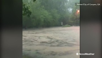 Raging rivers and entire parks swallowed during flooding