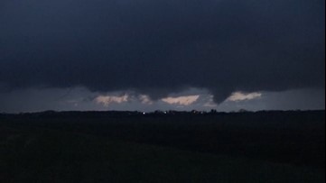 Multiple funnel clouds pop up across the horizon