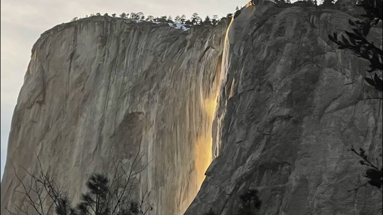 What causes the majestic 'Firefalls' in Yosemite