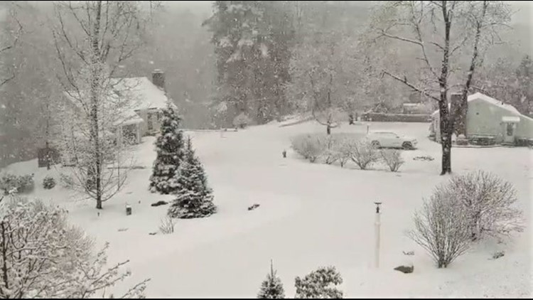 Several inches of spring snow fell across New England overnight