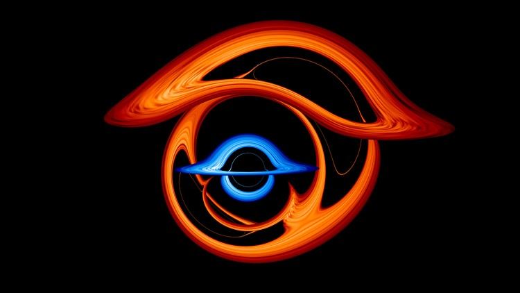 Watch 2 black holes bend light as they orbit each other