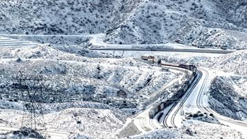 Rare snow dusts Vegas strip, sticks to LA-area foothills