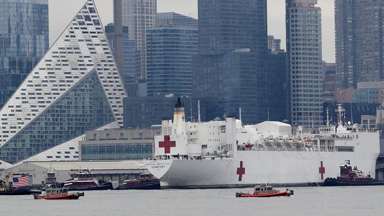 USS comfort arrives Virus Outbreak New York AP