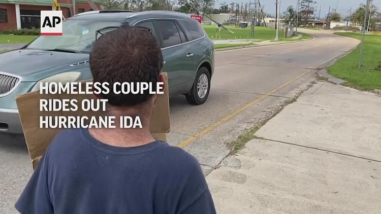 Homeless couple rides out Hurricane Ida