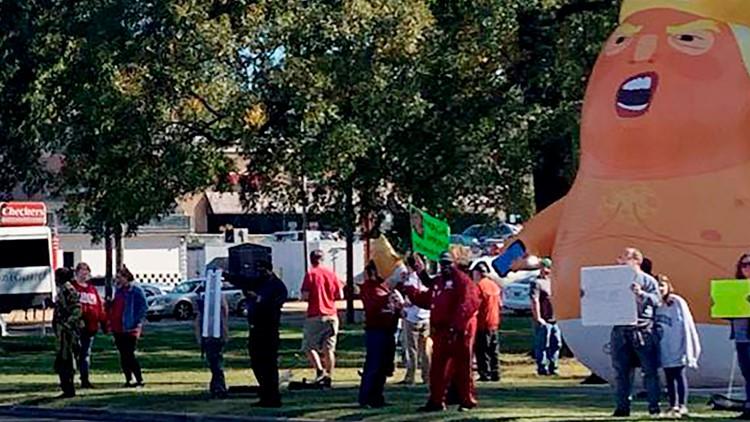 Baby Trump Balloon Arrest Alabama LSU