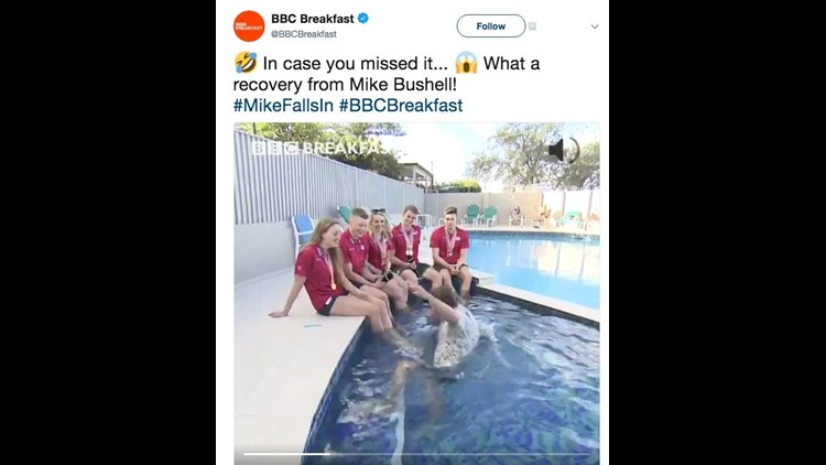 BBC Breakfast presenter falls into swimming pool during live interview