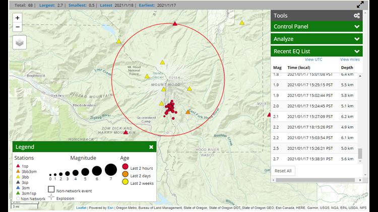 'Earthquake swarm' felt on Mt. Hood Sunday afternoon