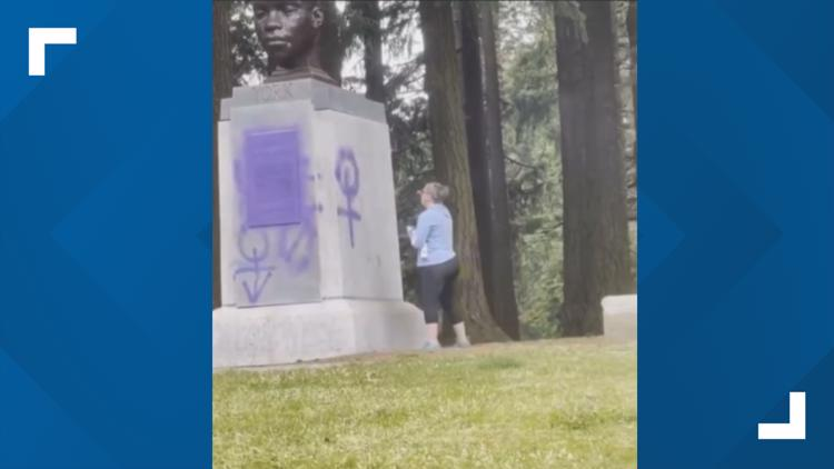 Woman cited for vandalizing bust of York on Mount Tabor