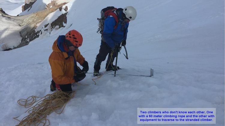 Two climbers prepare to help woman