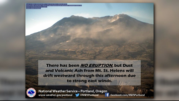 Wind blows ash off Mount St. Helens, impacts air quality