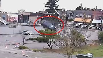 Driver survives wild crash after careening off ledge in western Washington