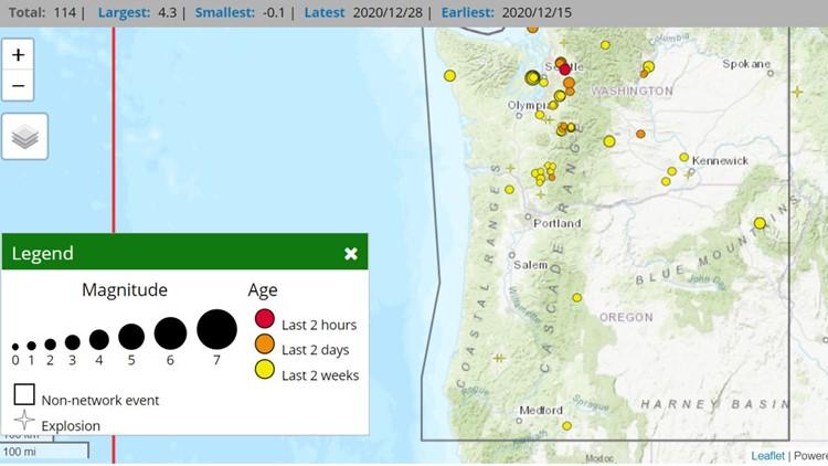 Two small earthquakes hit western Washington on Monday