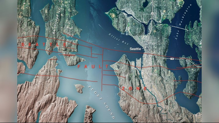 The Seattle Fault zone crosses Bainbridge Island, West Seattle, South Seattle, and Mercer Island.