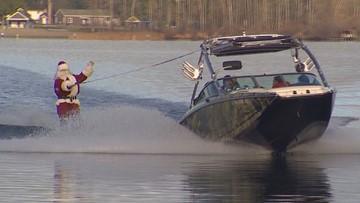 WATCH: Santa goes water skiing around Lake Stevens on Christmas