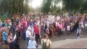 Dozens protest border camp conditions in downtown Spokane