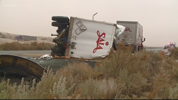 Semi-truck pileup, fuel spill closed I-90 E near Ritzville on Tuesday