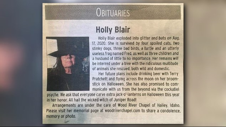 'Holly Blair exploded into glitter and bats': Unorthodox obituary for Idaho witch goes viral