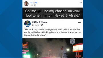 Daniel Tosh jokes about KREM story on standoff suspect who started fire with Doritos