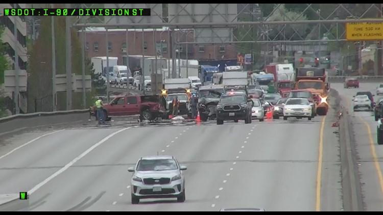 City of Spokane adjusts Division lane closures after backups, crashes on I-90