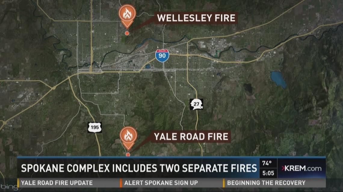 Spokane Complex Fire Map.Spokane Complex Includes Two Separate Fires Krem Com