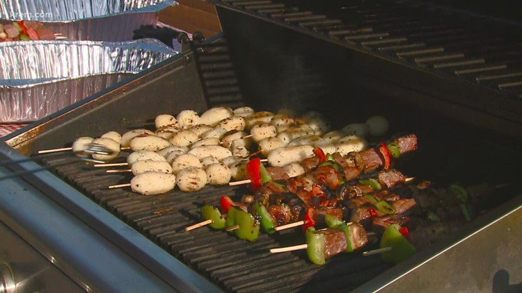 Tom's BBQ Forecast: Teriyaki Kabobs with Peppers, Mushrooms and Potatoes