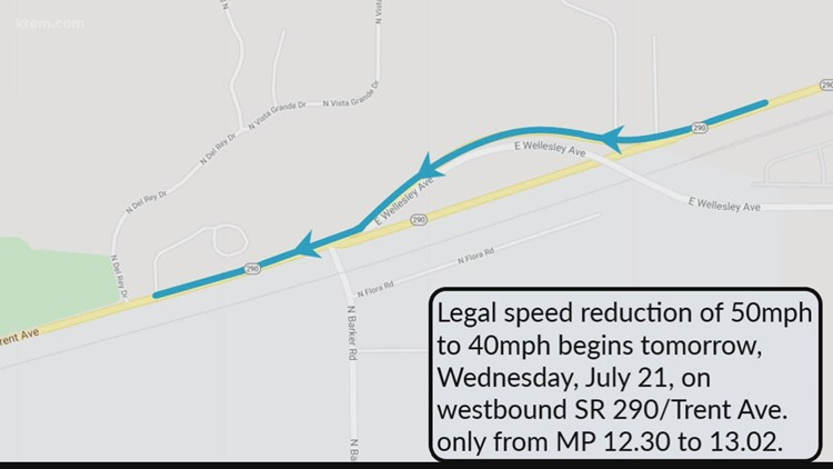 Speed limit reduction on Trent Ave. in Spokane
