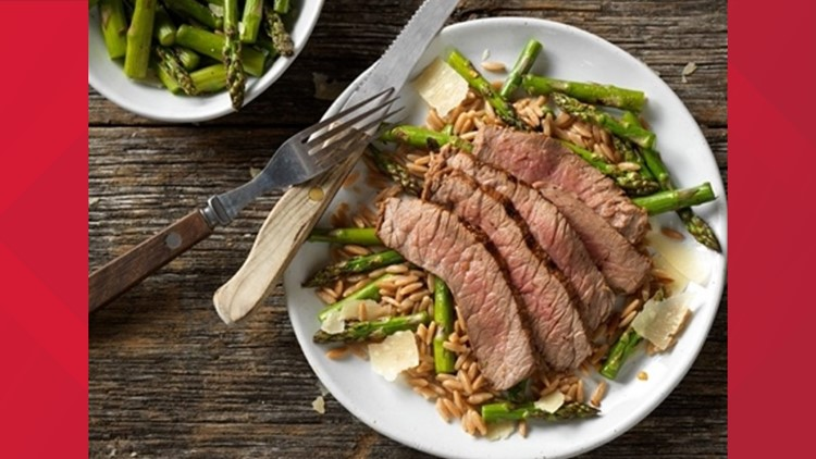 Tom's BBQ Forecast: Grilled Top Round Steak with Parmesan Asparagus