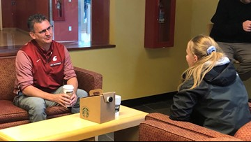 WSU men's basketball coach Kyle Smith gives pep talks to students during finals week
