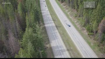 Idaho Transportation Department crews remove trees near Fourth of July Pass