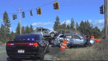 Video shows Idaho trooper narrowly avoiding injury after roadside crash