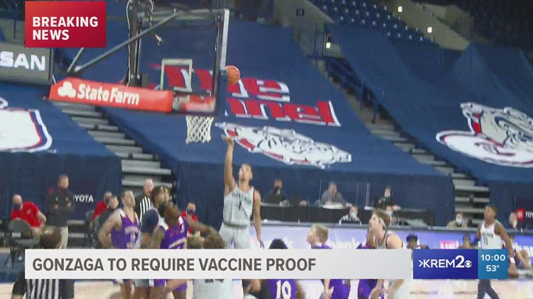 Gonzaga requires proof of vaccination at sporting events and other top stories at 10 p.m.