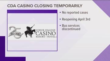Coeur d'Alene Casino temporarily closes due as COVID-19 precaution