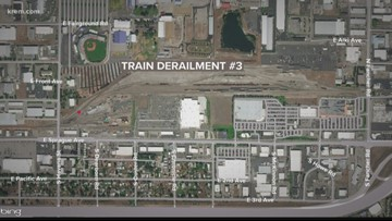 Third Union Pacific train derails in just over a month at same Spokane yard