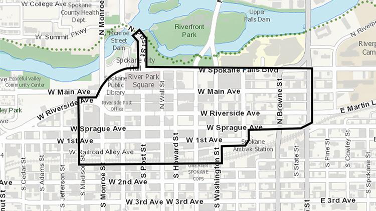 Lime Bike Downtown Spokane boundary map