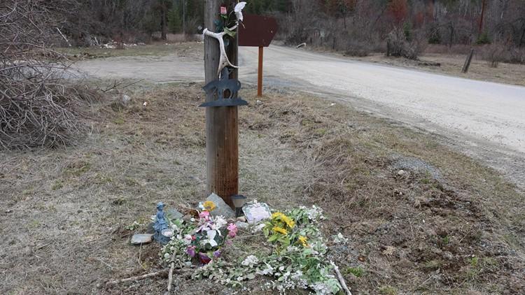 A roadside memorial for Shirley Ramey in Hope, Idaho.