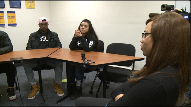 KREM's Alexa Block and members of Spokane Community College's Black Student Union during a round table