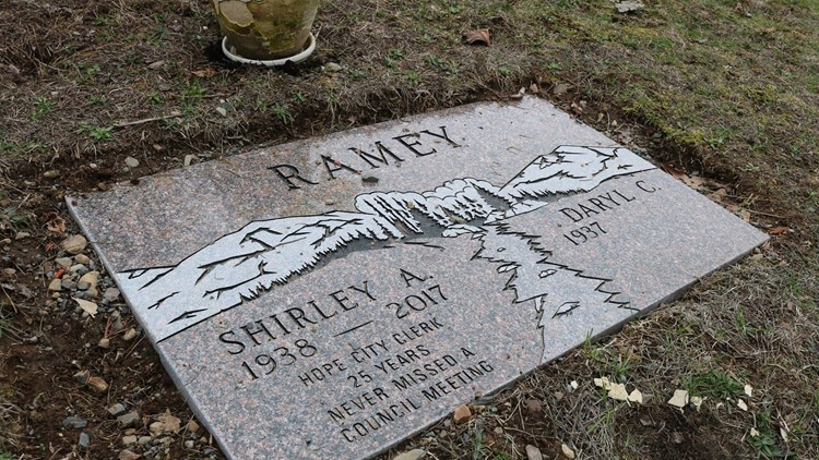 Shirley Ramey's grave in the town cemetery.