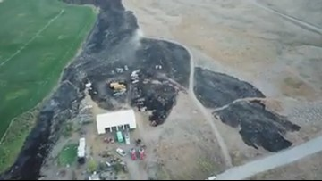 WATCH: Drone video of damage from Spring Coulee Fire in Okanogan Co.