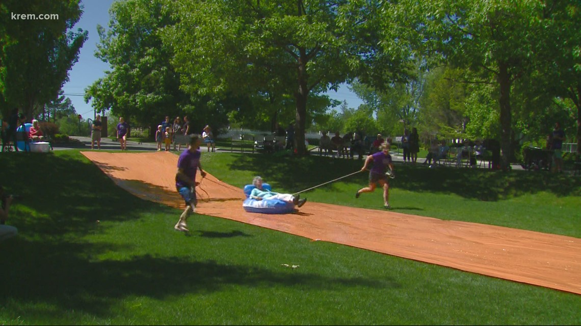 'I just thought it was marvelous': Retirement community residents enjoy a slip and slide