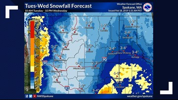 Spokane could see up to 4 inches of new snow by Wednesday