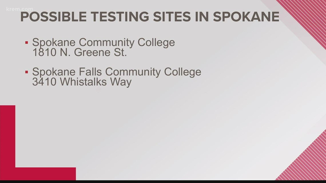 Washington State Department of Health confirmed two potential COVID-19 testing sites in Spokane