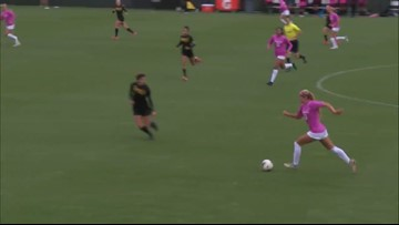 Left back Brianna Alger fakes out ASU opponent