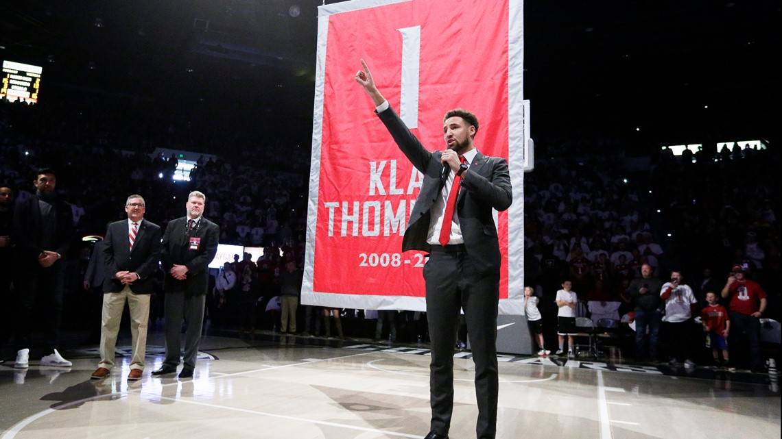WSU retires Klay Thompson's jersey during halftime of win against OSU