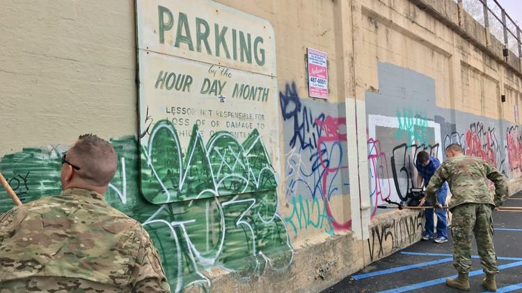 Air National Guard members 'untag' graffiti in Spokane
