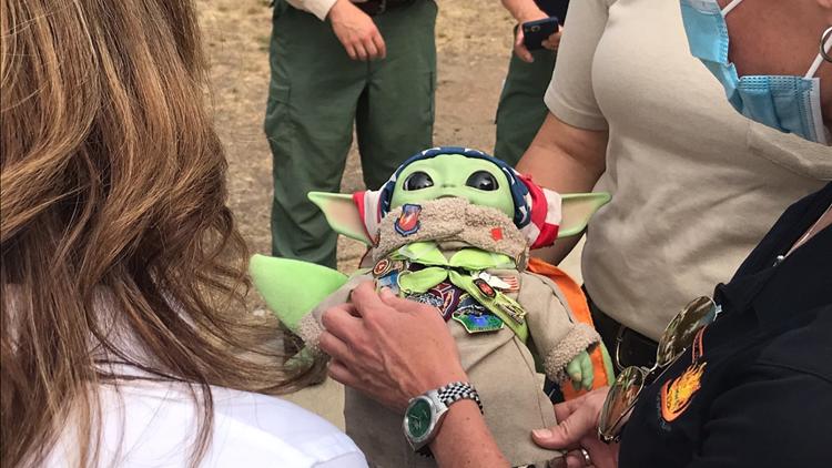 Fire crews bring 'Baby Yoda' to Sherwood fire to help raise spirits