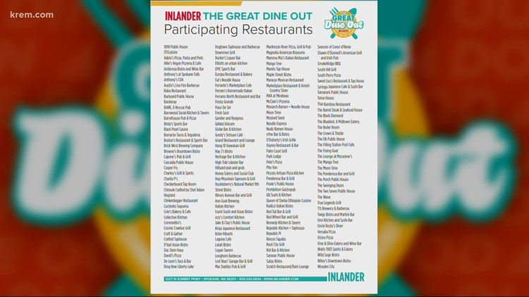 Over 160 local restaurants signed up for the Great Dine Out