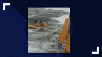 Firefighters rescue dog from icy Montana river on Monday