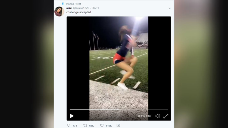 A cheerleader at Manvel High School basically walked on air. The best part is the crazy stunt was caught on camera.