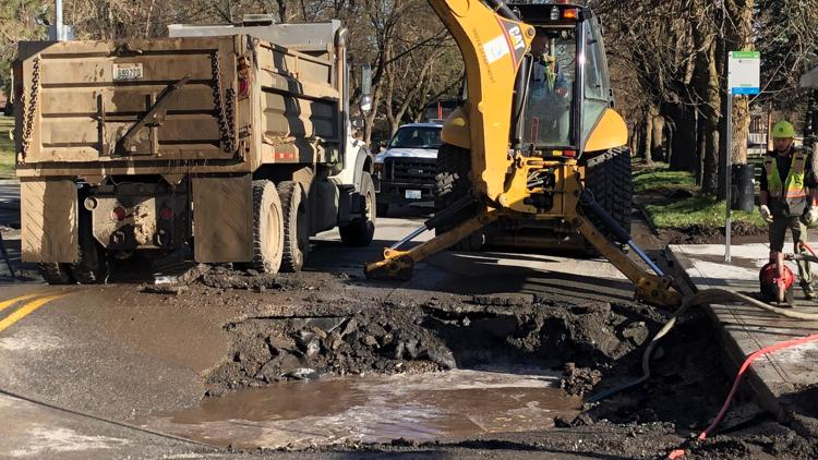 Grand Avenue closure still in place after South Hill water main break causes sinkhole