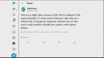 Semi-trailer fire blocking eastbound lane of I-90 16 miles west of Moses Lake